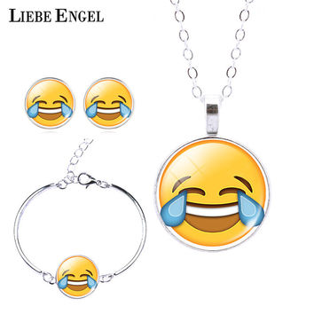 2016 Women Emoji Stud Earrings & Moon Pendant Choker Necklace & Charm Cuff Bracelet Bangle Emoji Jewelry Sets Glass