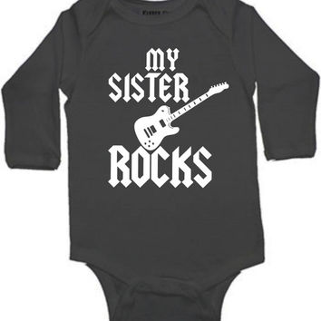 My sister rocks cool guitar sibling baby bodysuit white blue or black color and size choice short sleeved gift idea