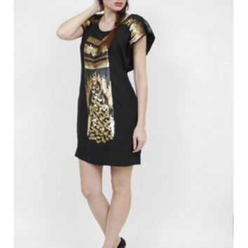 Yoana Baraschi Uber Rocker Sequin Dress - Black