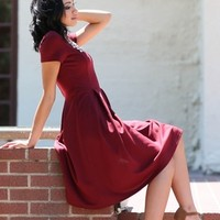 Grace A-Line Modest Dress in Burgundy