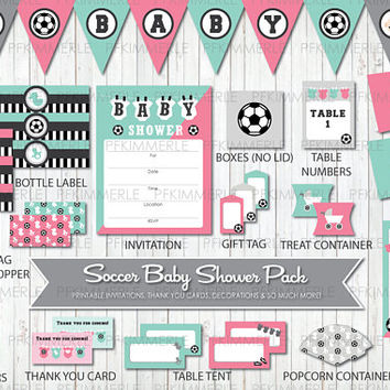 Soccer Themed Baby Shower, All Star, Sports, Printable Party Pack, Baby Shower Decorations, DIY Party