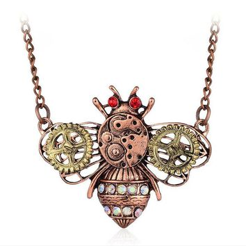New Steampunk Heart-shaped Mechanical Gear Necklace Retro Insect owl Clavicle Necklace