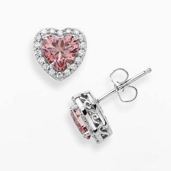 Emotions Sterling Silver Heart Frame Stud Earrings - Made with Swarovski Zirconia (Pink)