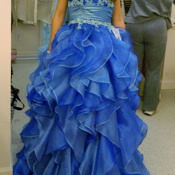 Blue Organza Ruffled Prom Pageant Dress by ClairesMarie on Etsy