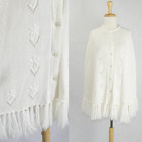 Vintage 1970s Snow White Sweater Cape with Fringe So Sweet!