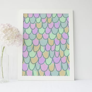 Pink + Green Mermaid Scales Wall Art Print