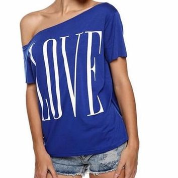 That Love Shirt, Off the Shoulder Blue Top, All Sizes