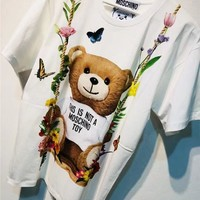 Moschino Cute Bear Print Loose T-Shirt