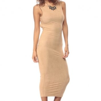 Nude Faux Suede Midi Body Con Dress @ Cicihot sexy dresses,sexy dress,prom dress,summer dress,spring dress,prom gowns,teens dresses,sexy party wear,ball dresses
