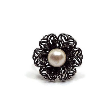 Vintage Faux Pearl Ring Antiqued Silver Tone Filigree Flower Mid Century Floral Jewelry Spring Summer 1960s 60s