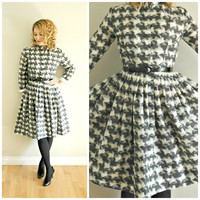 1960's A-line DESIGNER dress with button down front, high collar and pleated skirt. Size XS
