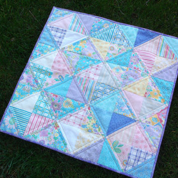 Spring floral blocks quilted table topper half square triangles topper