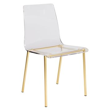 Chloe Dining Side Chair in Clear Acrylic with Matte Brushed Gold Legs - Set of 4