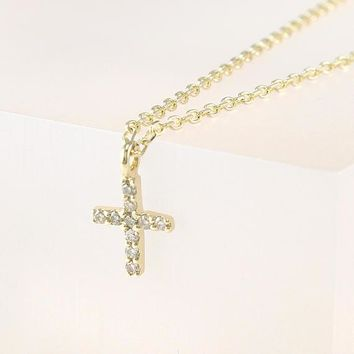 Diamond Cross Necklace, Tiny Cross Diamond Necklace, Gold Cross pendant, Tiny Cross Necklace 14K Solid Gold, Champagne Diamond necklace
