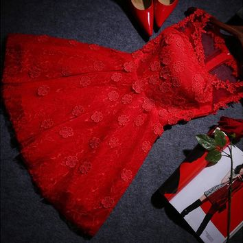 Red dress show thin short fashion lace homecoming dress