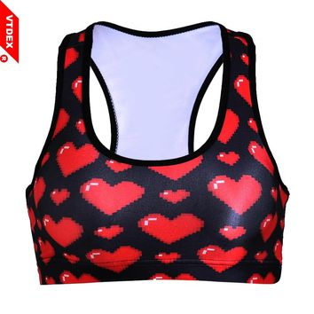 VTDEX 2018 Strappy Bra Hot Fitness Women Athletic Sports Bras Crop Tops Racerback Padded Vest GYM Heart Pattern Ropa Mujer