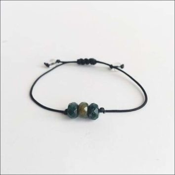 Moss Agate ~ Choose a String Color ~ Faceted Moss