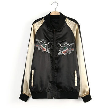 Spring Autumn Women's Bomber Jacket Coat Pilots Outerwear Tops Dragon And Fish Embroidery Zippers Jacket 2016 New LJ3942
