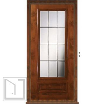 Prehung Patio Single Door 80 Wood Alder Patio 1 Panel 3/4 Lite Glass