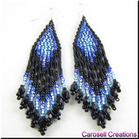 Native American Beaded Earrings Southwestern Beadwork Handmade Seed Beaded Blue and Black