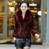 Womens Ladies Winter Autumn Lapel-neck Faux Fur Long Sleeve Warm Thick Outwear Coat Black/Wine red TopJacket Free Shipping Plus Sizes WT91