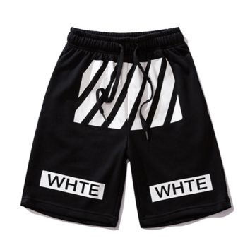 Off White New fashion letter stripe print couple shorts Black