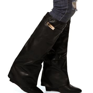 Black Mid Shaft Wedge Boots