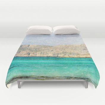 Art Duvet Cover At Sea 2 photography home decor photograph photo bedding full queen king bedroom texture ocean aqua sky blue nautical brown