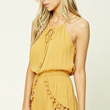 Tasseled Swim Cover-Up Romper