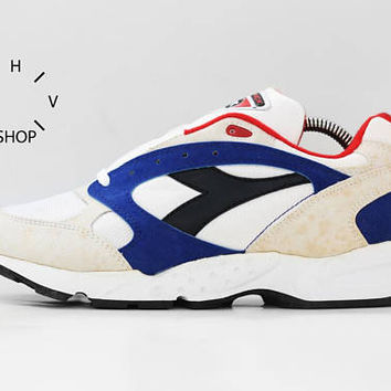 NOS 90s Vintage Diadora Maverick sneakers / Deadstock Trainers / White Black Blue Red running jogging kicks hi tops / made in Indonesia