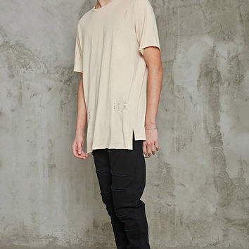 Distressed Raw-Cut Longline Tee