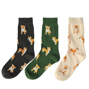 New Women Cute Pet Shiba Inu Crew Socks Kawaii Lovely Female Girls Puppy Dog Animals Combed Cotton Short Sock