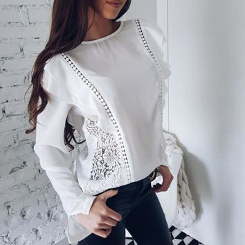 New Arrival 2018 Summer Womens Sexy Lace Tops and Blouses White Pink Chiffon Long Sleeve Ruffle Sweet Causal Shirts SV
