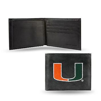 CUPUPI8 Miami Hurricanes Wallet Premium Black LEATHER BillFold Embroidered University of