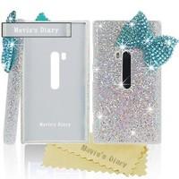 Mavis's Diary Bling Handmade 3D Stylish Big Blue Bow Shining Back Case Cover for Nokia Lumia 920 with Soft Clean Cloth