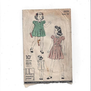 1930s Vintage Du Barry 2357 B Pattern for Child's Dress, Size 10, with Instructions, NON Printed, Vintage Pattern, Home Sewing Pattern