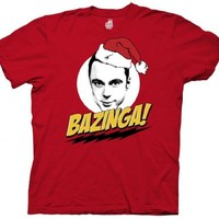 The Big Bang Theory Sheldon Cooper Bazinga Santa Hat Adult T-Shirt