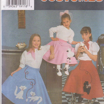 Pattern for girls retro 1950s circle skirt with cat, scottie dog, or poodle applique size 7 8 10 12 Simplicity 7210 UNCUT