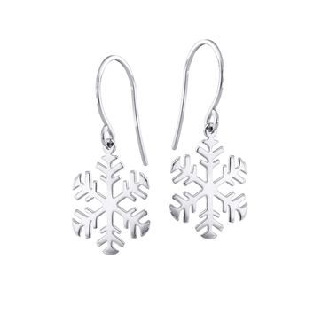 14K Yellow Gold Shiny Snow Flake Drop Earrings