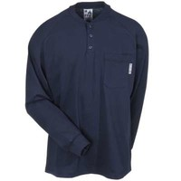 Working Person Shirts: Men's FRS293 NVY Navy FR USA Made Henley Shirt