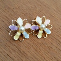 Vintage Pale Pink, Lilac, Blue, Yellow & White Enamel Faux Pearl Flower Clip-on Earrings Signed PAT 1967985 - 1930s - Dainty Spring Easter