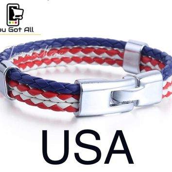 2018 Russia World Cup Football Soccer Unisex Leather  Bracelet Flag Color