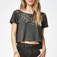 One Look Laser Cut Cropped T-Shirt