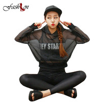 2016 Summer Women Casual Transparent Hoody Hooded Collar Solid Black White Clear Cool Full Sleeve Loose Sunblock Casual Pullover