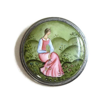 Sterling Silver Russian Finift Enamel Lady Cameo Brooch Vintage Unique