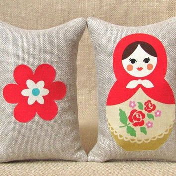 Babushka Bookends in Hemp Shelf Pillows by TwoStrayCats on Etsy