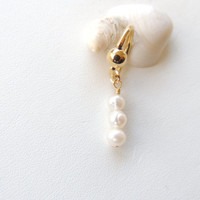 Pearl Dangle Belly Button Ring, Pearl Navel Ring, Gold Belly Rings, Sexy Body Jewelry, Belly Button Jewelry. 563