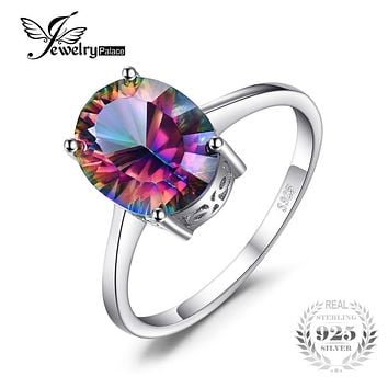 JewelryPalace 5ct Natural Gem Rainbow Fire Mystic Topaz Ring Concave Oval For Women Solid 925 Sterling Silver Brand New