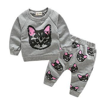 Children Sweater Girls Clothing Sets Thick Warm Sport Suit Kids Winter Long T shirt+Pants girls clothes set