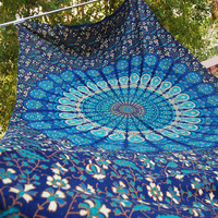 Blue Hippie Mandala Tapestry wall hanging boho bohemian twin bedding throw bedspread ethnic home decor art Bedspread Cotton Beach Flat Sheet